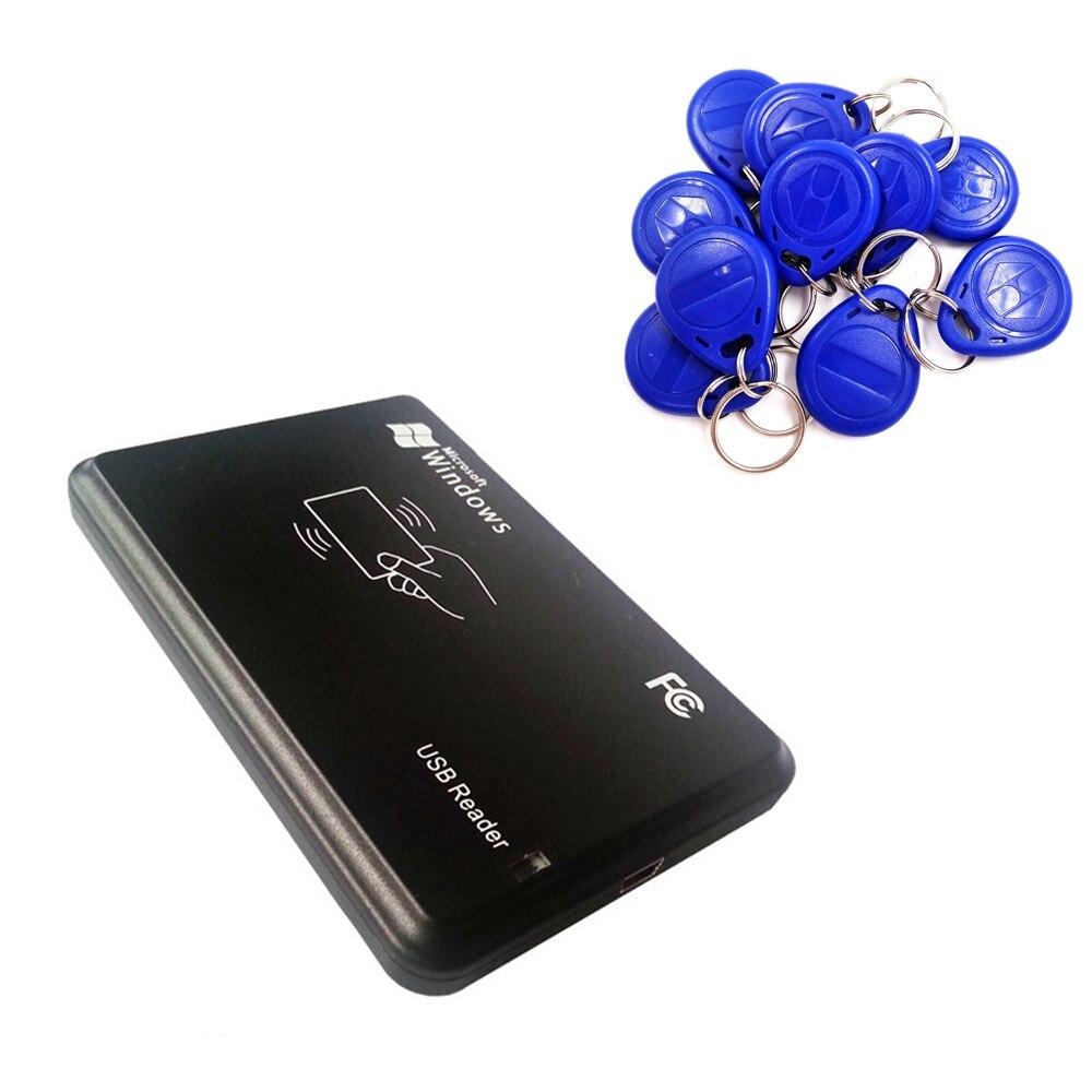 125 кГц RFID ID EM4100 EM4305 T5577 карты USB чтения/записи/Копиры/программист Бесплатная перезаписываемый брелока копия iso с 10 шт. Keytags