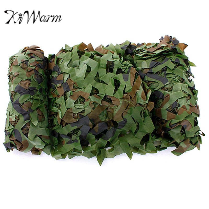 KiWarm 4x1.5m Outdoor Woodland Camo Net Military Camouflage Netting Mesh Games Hide Camouflage Net Hunting Camping Car Cover
