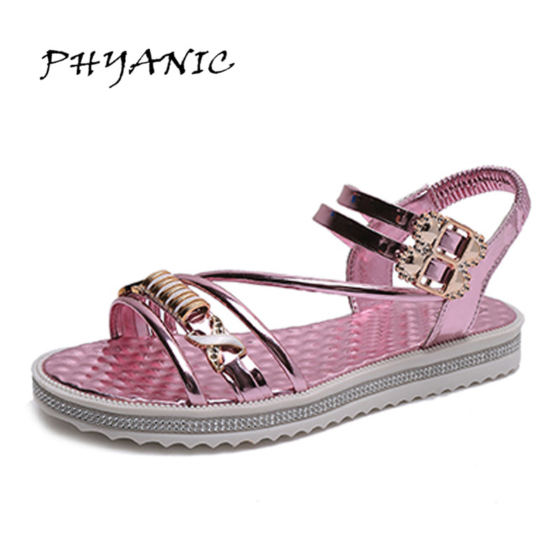 PHYANIC Fashion Sandals 2017 Summer Gladiator Sandals Women Flat Comfortable Ladies Shoes Sandalias Mujer PHY4124 phyanic 2017 gladiator sandals gold silver shoes woman summer platform wedges glitters creepers casual women shoes phy3323