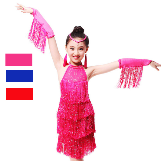 Fringe Latin Dance Dress For Sale Child Kid Girl Junior Salsa Bachata Latin Dance Costume Ballroom Dance Competition Dress