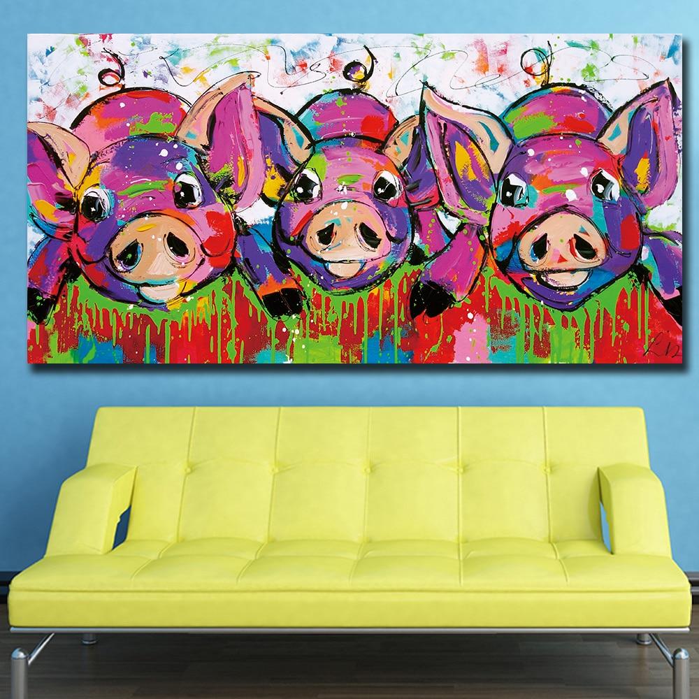 Fashion Oil Painting Pop Art Rainbow Horses Home Decor on Canvas ...