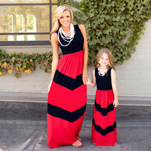 Family Matching Clothes Matching Mother And Daughter Dresses Striped Patchwork Dress New Fashion Family Look Girls