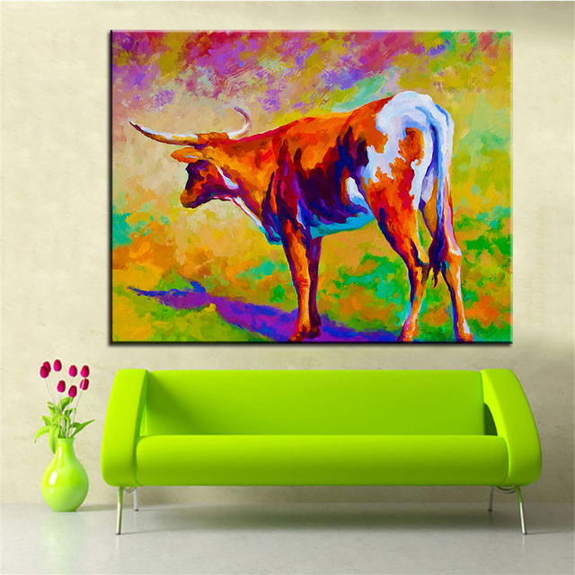 Large Size Printing Oil Painting Texas Longhorn Wall Steampunk Art Picture For Living Room No Frame
