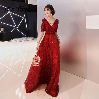 It's YiiYa Evening Dress Wine Red Sequins V-neck A line Elegant Formal Dresses Short Sleeve Backless Party Gown For Women E075 fashion high waisted hang neck dress for pregnant women wine red lace halter backless dresses long style ladies evening clothes
