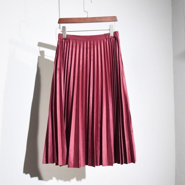 Women's Elegant High Waist Midi Skirt 2016 Ladies Vintage Elastic Waist Pleated Polyester Suede Slim Skirts Saias 8 Colors