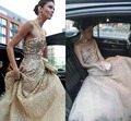 Luxury 2015 Sequined Celebrity Dresses Red Carpet Sexy Backless Strapless A-line Tulle Evening Dress Women Vestido De Festa