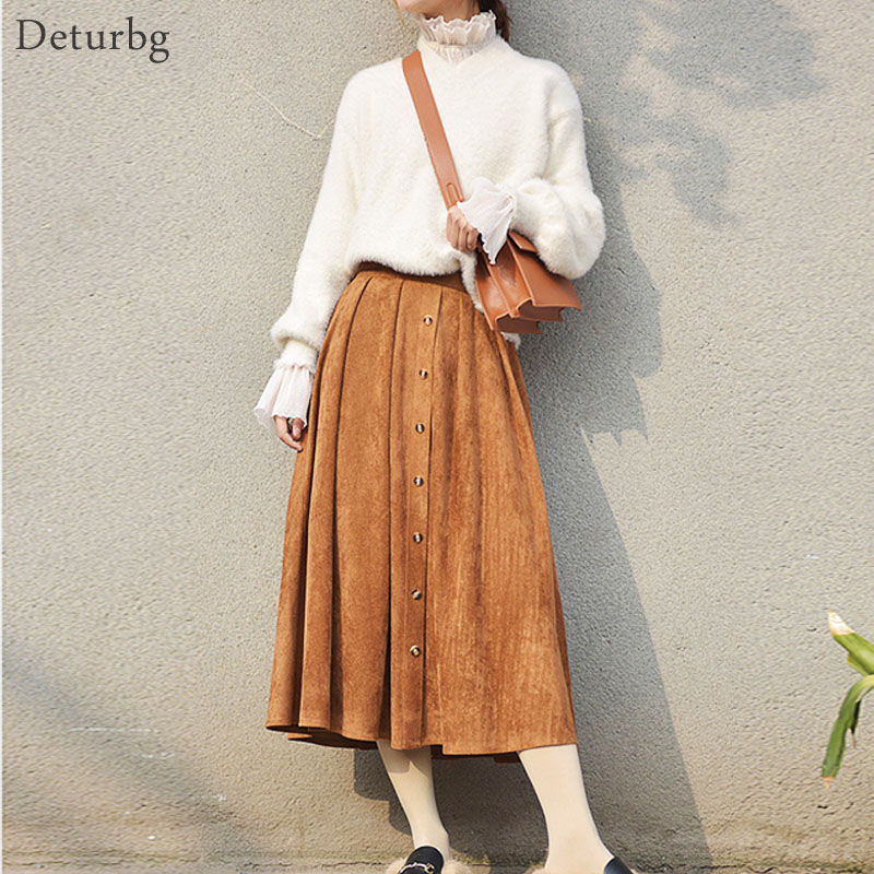 Deturbg Women Vintage Single breasted Midi Skirt Female Casual Elastic High Waist Pleated Suede Skirts Saias 2018 Spring SK191 in Skirts from Women 39 s Clothing