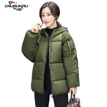 Фотография bread wide-waisted coat winter jacket women plus size 6XL ArmyGreen cotton warm parkas Regular length jackets woman outerwear