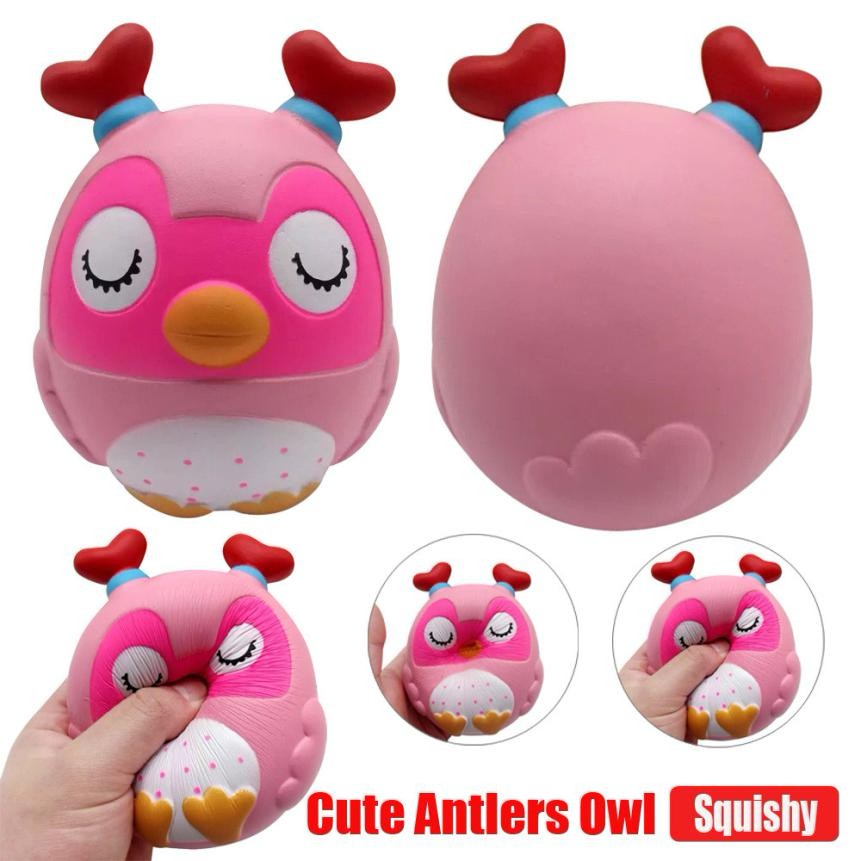 Cute toys Squeeze Jumbo Stress Reliever Soft Antlers Owl Scented Slow Rising Toys Gifts good play for kids new toys hot sale