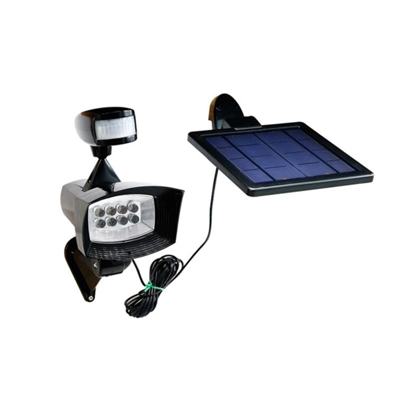 Solar Power Adjustable 8 LED Solar Light PIR Sensor Wall Lamp Outdoor Waterproof IP44 Spot Garden Light 3W l806 solar 8 led light black