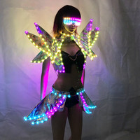 LED Clothing Lady Clothes Fashion Glowing Women Bra Shorts Alice shoulder Armor Suits Ballroom Dance Dress