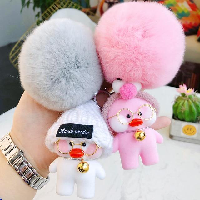 Cute Little Yellow Duck Chaveiro Boneca Fluffy Rabbit Fur Bola da Chave de Cadeia para As Mulheres Menina Saco Chamrs Jóias Chaveiro Carro chave Titular