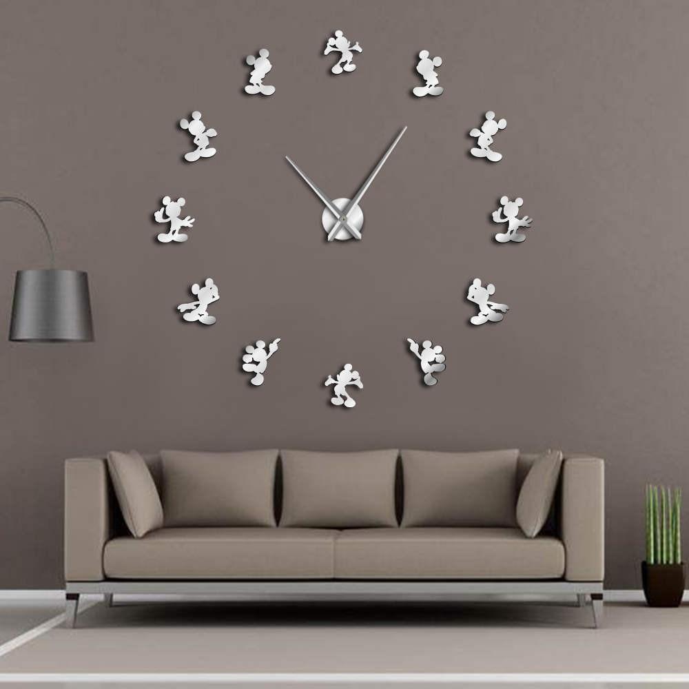 Cartoon Mouse DIY Giant Wall Clock Cartoon Kid Room Wall Decor DIY Hanging Wall Watch Mirror Effect Frameless Comics Wall Clock