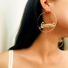 Creative Big Circle Earrings Exaggerated Geometric Simple Hollow Female Personality  Letter