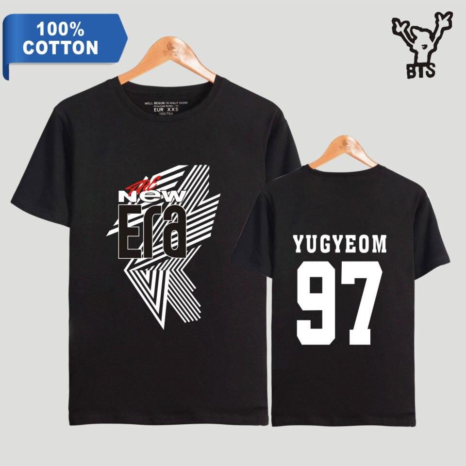 BTS GOT7 FM The New Era Kpop Men 100% Cotton Summer Cool T-shirt YUGYEOM 97 Short Hip Pop Popular Fashion TShirt Plus Size A8080