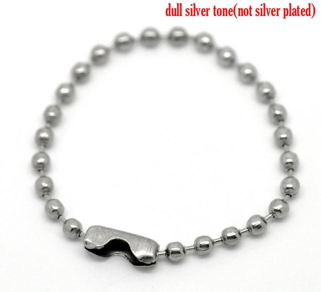 "Doreen Box Lovely 100PCs Silver Tone DIY Connector Clasp Ball Chains Keychain Tag 10cm(3 7/8"") (B19901)"