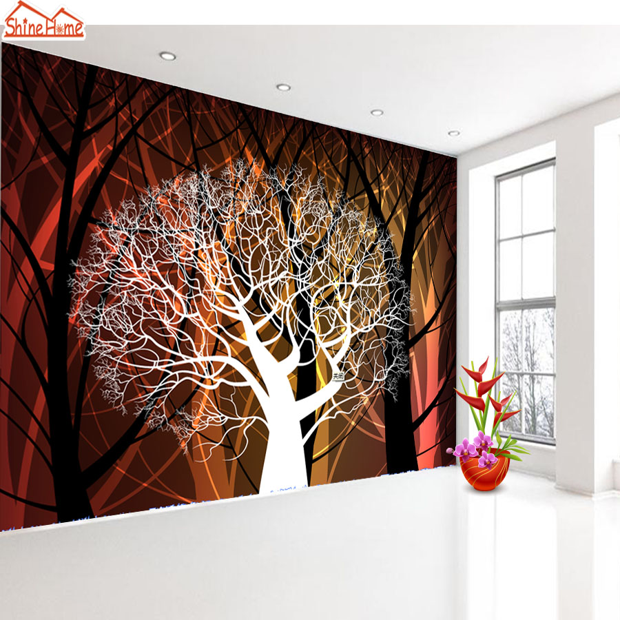ShineHome-Art Color Tree in Forest World 3d Photo Wallpaper Rolls for Walls 3 d Livingroom Nature Wallpapers Mural Roll Paper shinehome nature letter art wood board 3d photo wallpaper rolls for walls 3 d livingroom wallpapers mural roll paper background