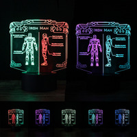 Marvel Hero Iron Man 3D Action Figure Mixed Color Night Light LED Vision Lamp RGB Bedoom Table Home Decor Baby Creative Gifts