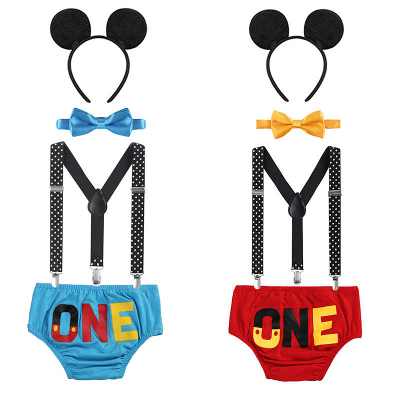 Cute Baby Boy Girl Mickey Mouse Clothing 1st Birthday Party Cake Smash Outfit Pants Suspenders Photo Shoot Costume Baby Clothes