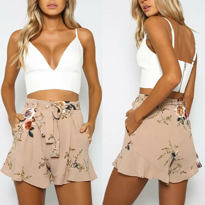 HIRIGIN Women Vintage Floral Shorts Summer Casual Bow Lady Beach High Waist Short Trousers