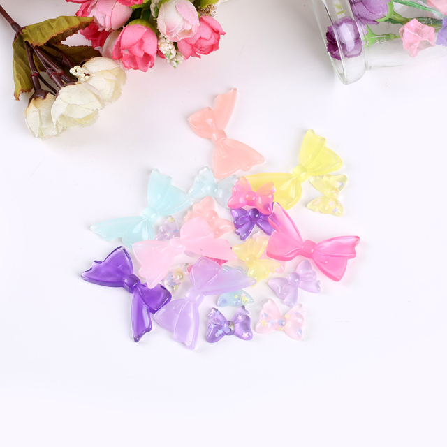 20pcs many styles flat back resin bow accessory  glitter bow for diy brooch decoration