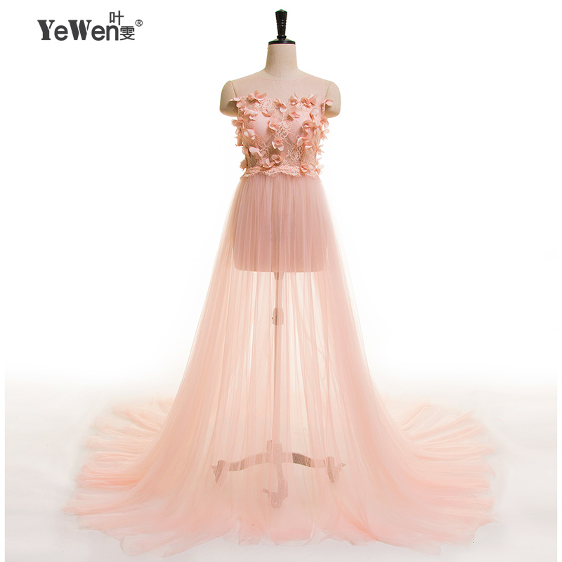 YEWEN Summer New Desinger Robe De Soiree Tulle lace flowers burgundy Party Occasion Formal Long Evening Dress 2020