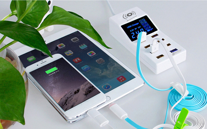 Thbelieve Multi USB Charger Mobile Phone Wireless Charging Station 8 USB HUB Wall Charge EU Plug Desktop Charge US UK Adapter (11)