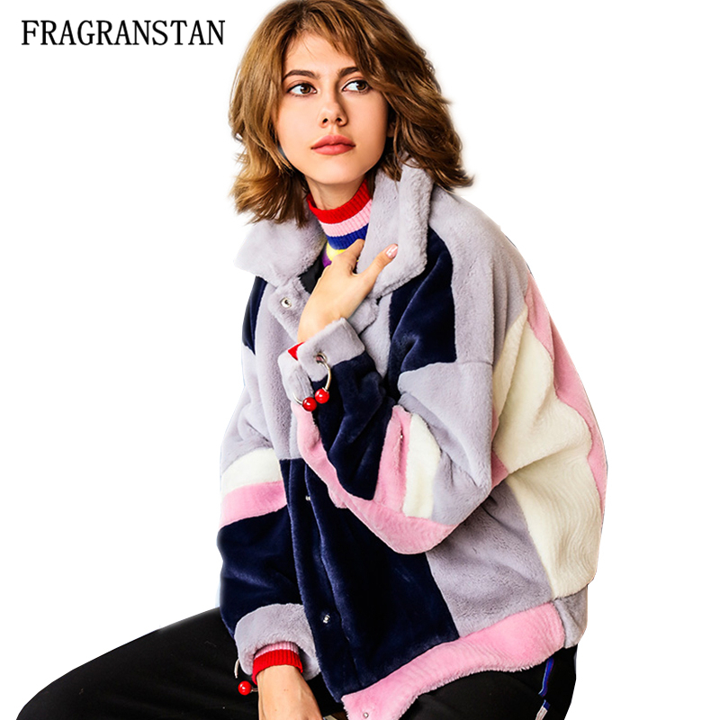2019 Women New Fashion Design Flocking Jacket Loose Casual Thick Plus Size Metal Ring Splicing Cute