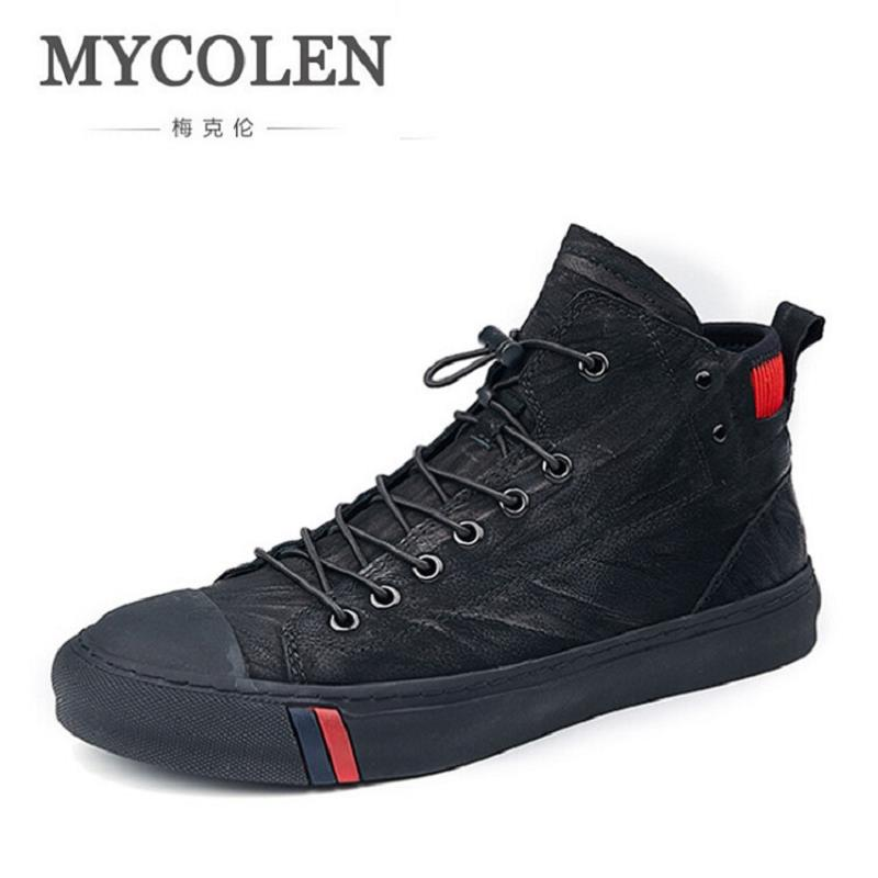MYCOLEN Designer Men Shoes High Quality Leather Sneakers Men Ankle Boots Luxury Brand Winter Men Boots Black Botas De Hombre mycolen new autumn winter men black casual shoes men high tops fashion hip hop shoes zapatos de hombre leisure male botas