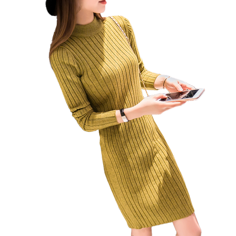 2016 Autumn Winter Women Pullover Sweater Dress Casual Slim half Turtleneck Long Sleeve Thick Knitted Pullover dresses vestido