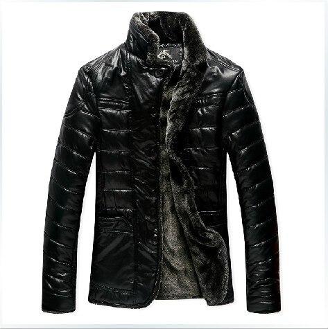 무료 배송 새로운 남성 브랜드 의류 모피 원피스 칼라 열 고점 수석 가죽 재킷 / XL-5XL을 복구 스탠드