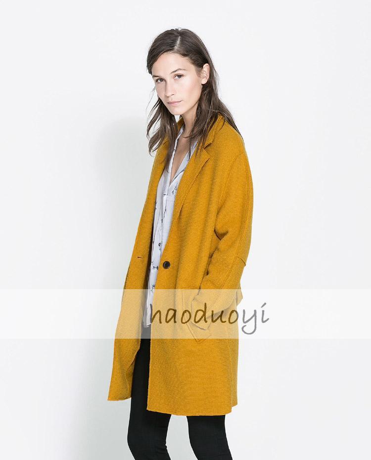 Farbe Abzug Senf gelb Wolle Frauen Krawatte Mantel Traum T3lJcFK1