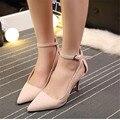 2016 осень пункт острым носом тонкие каблуки туфли на высоком каблуке обувь одного ремень кнопку женская обувь сандалии моды