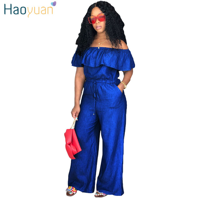 cc0ab1af8e12 HAOYUAN Sexy Denim Jumpsuit 2018 Streetwear Off Shoulder Jean Overalls One  Piece Backless Casual Loose Rompers Womens Jumpsuit