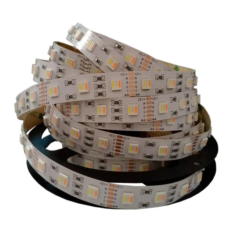 Nouveau 5 M DC24V 5050 RGBWW 5 couleur dans 1 bande flexible de puce rvb + CCT blanc/blanc chaud, 96led 60led par mètre a mené la lumière de ruban de ficelle