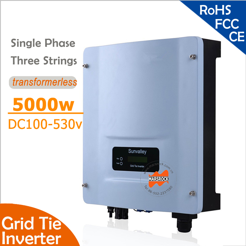 5000W Grid Tie String Inverter with Wide Input DC150-530v to 220v 60Hz, RS485 port for residential and commerical PV grid system solar power on grid tie mini 300w inverter with mppt funciton dc 10 8 30v input to ac output no extra shipping fee
