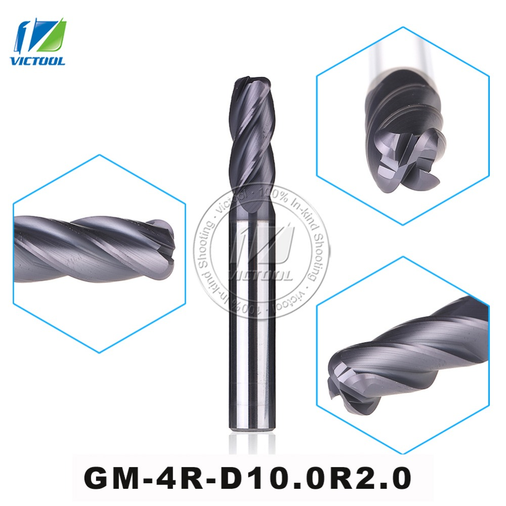 GM-4R-D10.0R2.0 Cemented Carbide End Mills 4-Flute R End Mills Straight Shank Milling Cutter Metal Drill Bits Cutting Tools original solid carbide milling cutter 68hrc zcc ct hm hmx 2b r10 0 2 flute ball nose end mills with straight shank