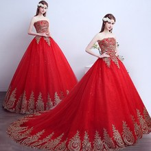 ruthshen Vestido de Noiva Strapless Red Ball Gown Vintage Wedding Dresses Lace Appliques Sequins Robe de Mariage China 2018
