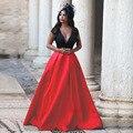 2017 Arabia P1213 Simple Estilo Rojo y Negro V Cuello de Raso Vestidos de Baile Formal Del Partido Vestidos de Noche A Medida