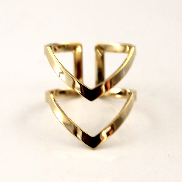 Double Line Chevron Boho Rings