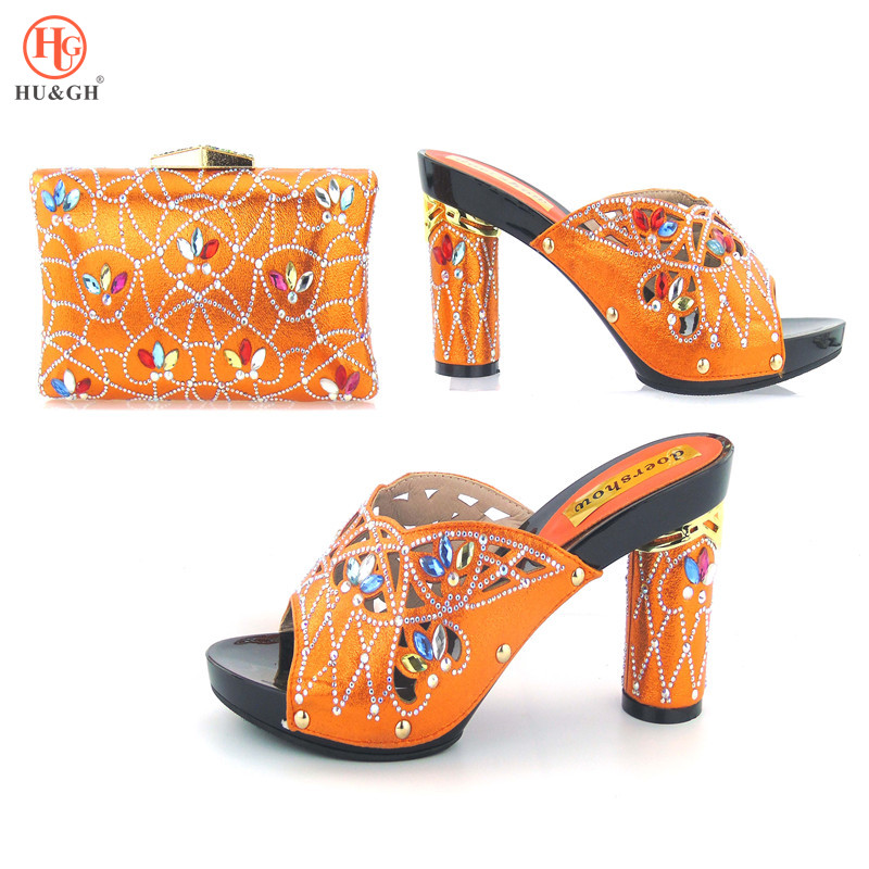 New Orange Color Italian Shoes with Matching Bags for Wedding Italy Shoes and Bag Set African Sets 2018 Party Shoes and Bag Set