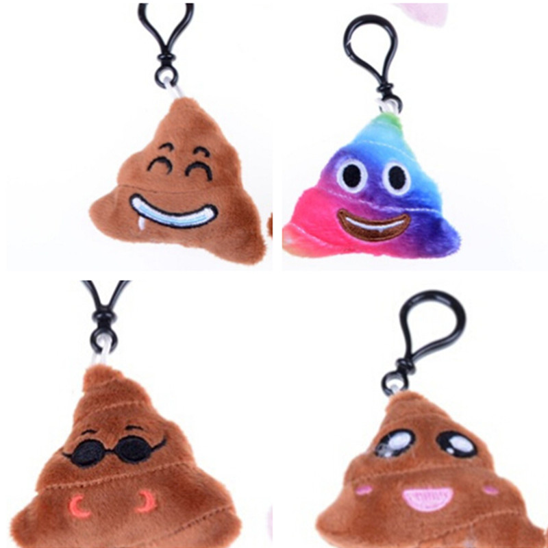 Emoji Poop Keychains Gifts Stuffed Small Pendant For Bag Parts Stuffed Plush Toy Small Emoji Pillow Keyrings For Promotional Less Expensive Bag Parts & Accessories