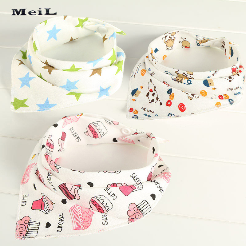 MEIL ( 3psc) Baby bib waterproof pure cotton saliva scarf printed pop accessories burp cotton The new 2018 soft towel.