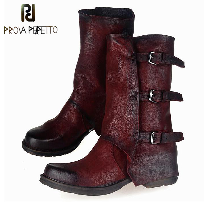 Prova Perfetto Europe Retro Do Old Low Heel Woman Boots Shoes Genuine Leather Naked Martin Boots Back Buckle Knight Short Boots prova perfetto 2017 winter women warm snow boots buckle straps genuine leather low heel fur boots retro mid calf botas mujer