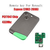 2Buttons Remote key Transponder Chip PCF7947 For Renault Espace 433Mhz For Renault Espace 2002 2003 2004 2005 2006 Keys