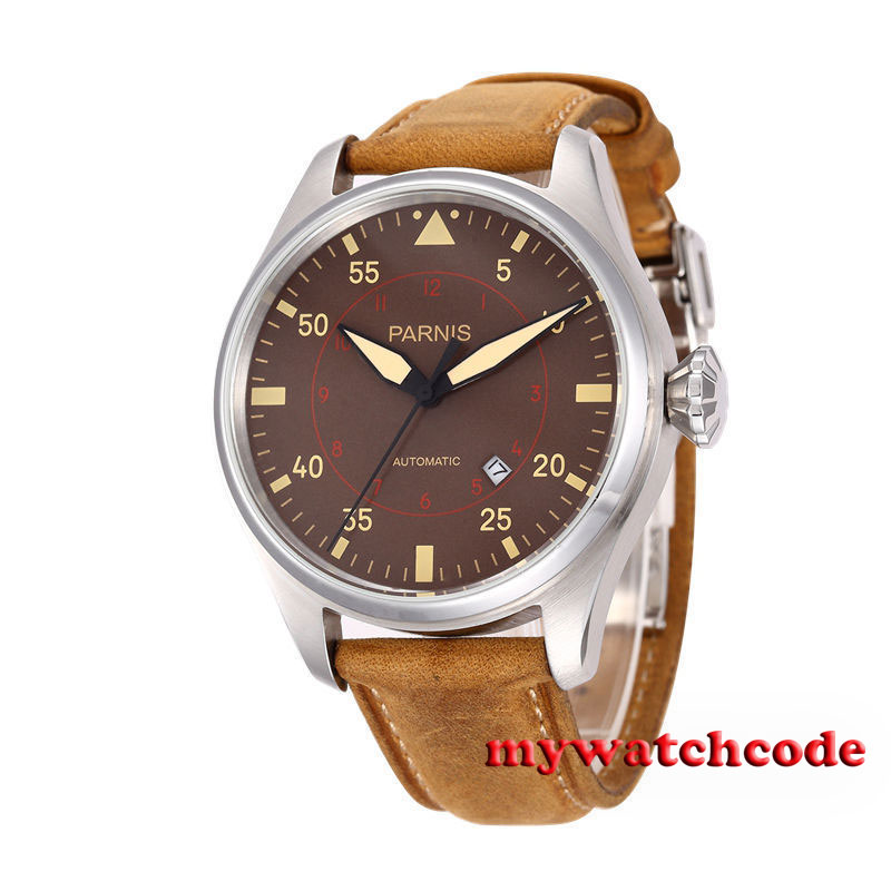 47mm parnis coffee dial date cow leather strap miyota automatic mens watch 580B luxurious 47mm parnis coffee dial date seagull automatic movement mens watch page 6