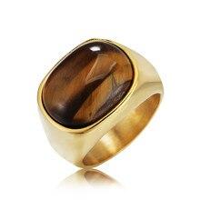 664b3decf2af Oro y Plata Vintage hombres chico Oval ojos de tigre marrón piedras símbolo  anillo en joyería de acero inoxidable para hombre Ac..