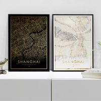 Shanghai city map poster real gold foil world map prints for wall art canvas decor picture for Nordic style living room gift