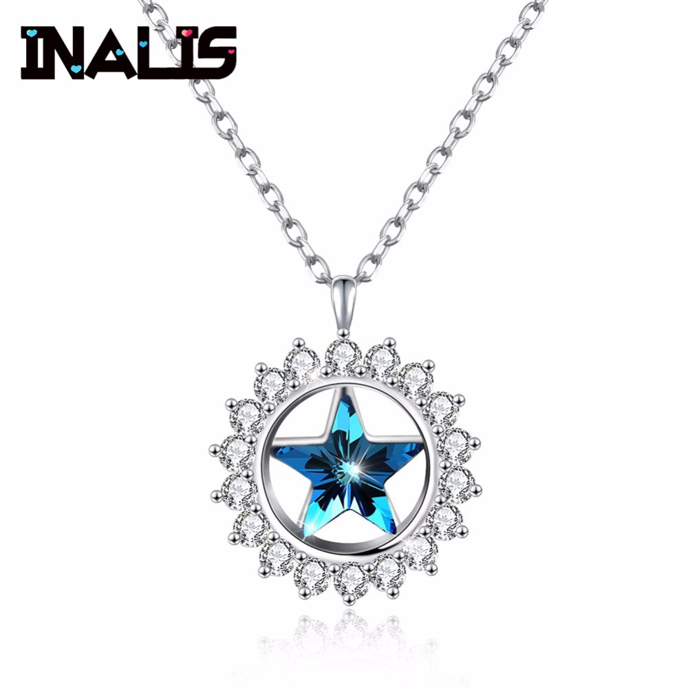 Delicate Newest 925 Sterling Silver Round Star Pendant Inly CZ Stone Blue Austrial Crystal Link Chain Necklace for Women