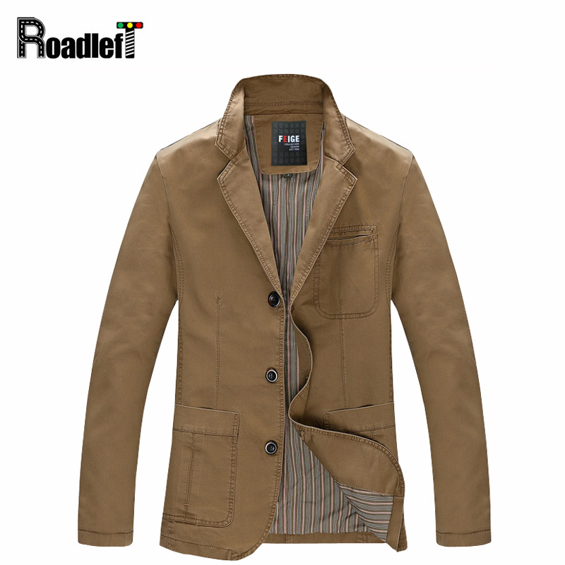 2017 Autumn Men casual blazers cotton denim jacket coat Men s slim fit army green khaki